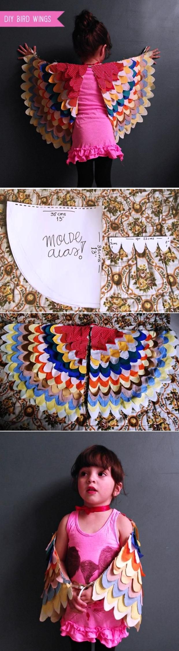 colorful DIY bird costume, wings inspiration
