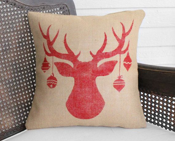 Weihnachten Deer Kissen Jute-Kissen-Christmas von nextdoortoheaven