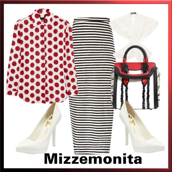 """Red Stripes and Dots"" by mizzemonita on Polyvore"