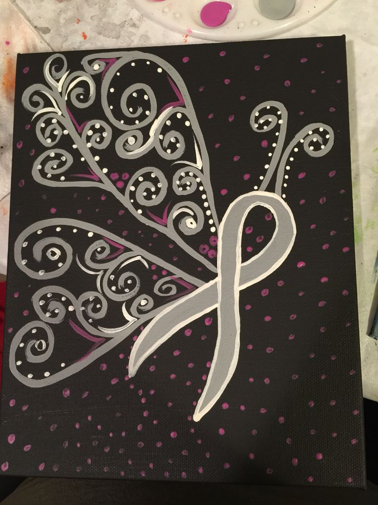Brain cancer awareness ribbon canvas painting