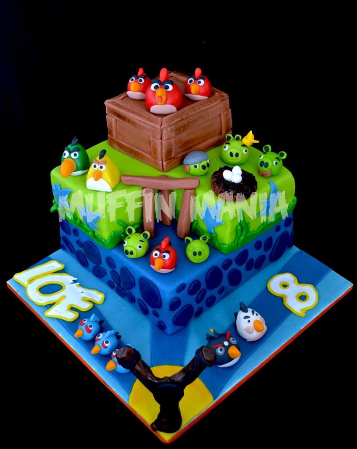 Angry birds taart vierkant
