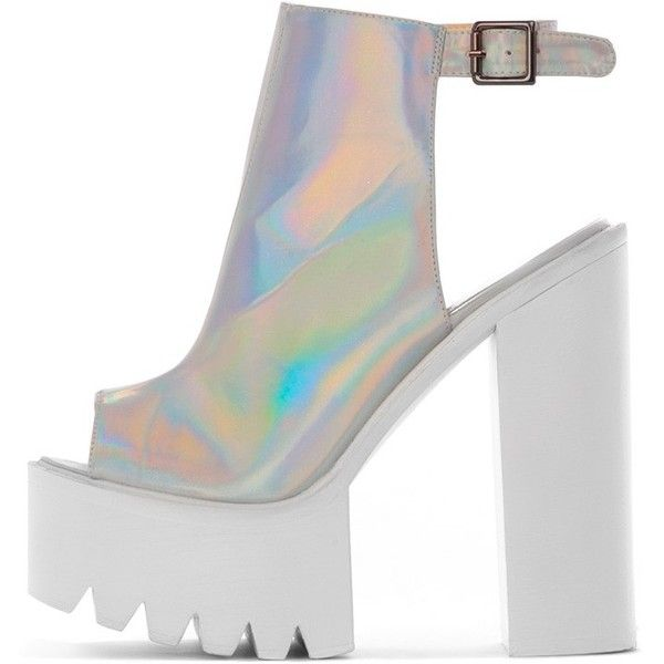 Carmen Holographic Sling Back Cleated Sole Shoes ($33) ❤ liked on Polyvore featuring shoes, sandals, heels, grey, silver shoes, grey heel sandals, holographic shoes, summer sandals and sling back shoes