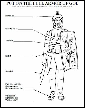 Trace each child onto paper and cut out.  Let them decorate by using crayons, markers, fabric, etc.  Provide labels for each piece of armor for them to glue on and draw arrows to that part of their paper body!