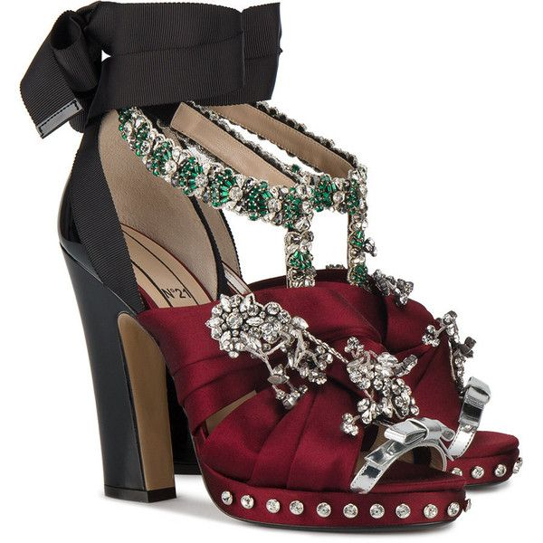 25d8c4dd2ff412 Shop Burgundy Satin Crystal 130 sandals on sale at Browns this winter.
