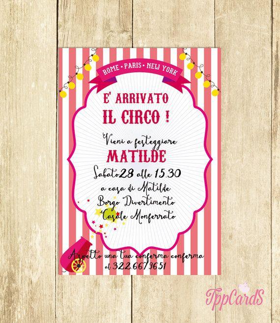Invito Compleanno Circo Rosa Invito Festa Compleanno by TppCardS