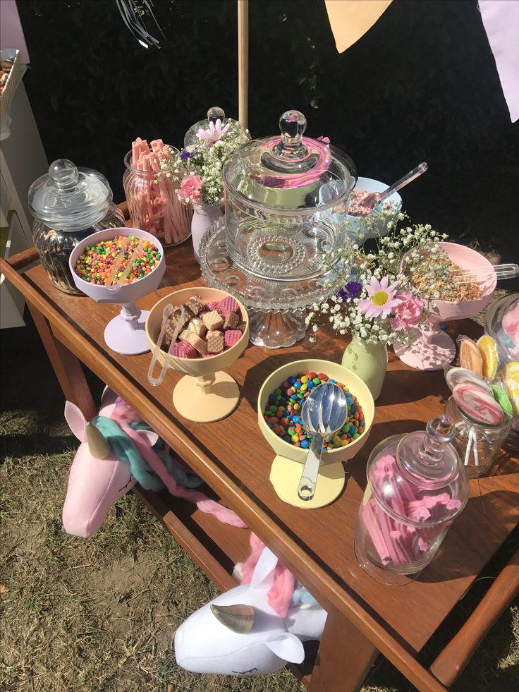 Ice cream Sundae bar. Unicorn party, pastel rainbow. Sweet treats