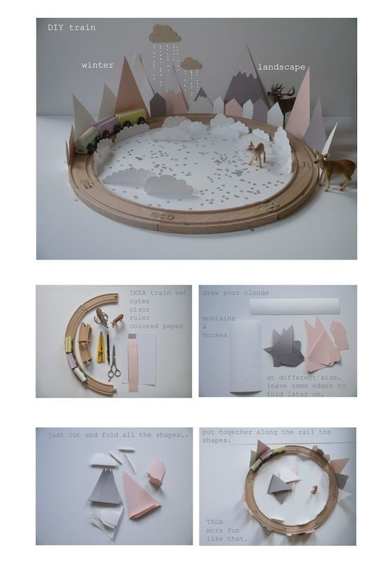 DIY paper winter landscape for your wooden train