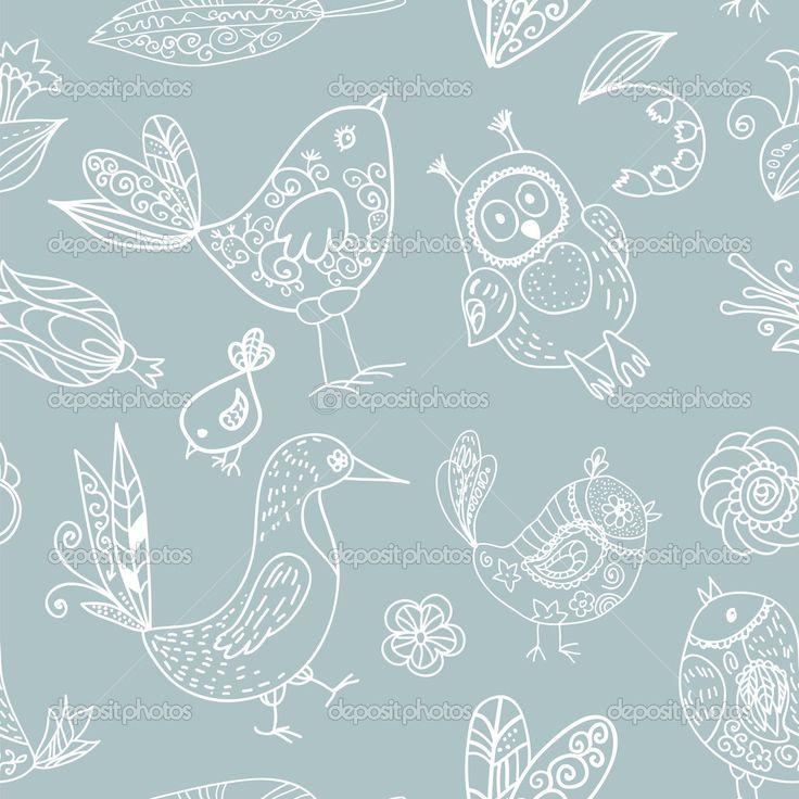 Шаблон плавный силуэт птицы — Стоковая иллюстрация #22502859