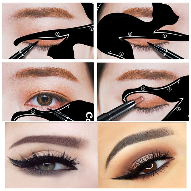 2 pc Cat Eye Fish Tail Double Wing Eyeliner Stencil Set