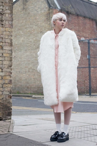 Faux Fur Midi Coat Ivory
