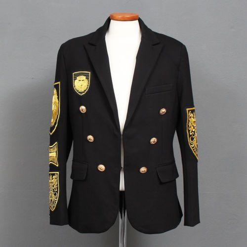 Men-039-s-Fashion-Gold-Lion-Patch-Slim-Blazer-Wool-Jacket-GENTLERSHOP . US $235.95