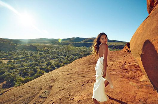 Jessica Mauboy on a fashion shoot near Palm Valley (Finke Gorge National Park). Alice Springs  Northern Territory Australia. Photographed by Justin Ridler via InStyle Magazine. @Anna Lynch