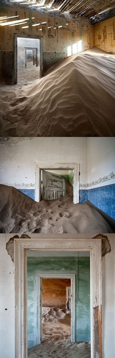 Abandoned homes reclaimed by the Namib Desert.