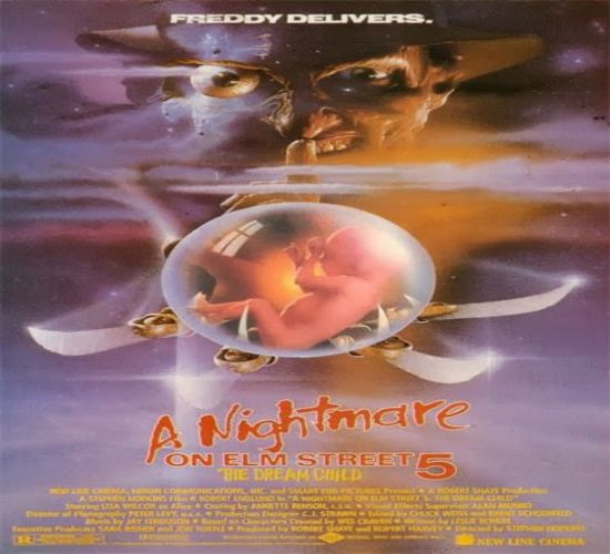 """A Nightmare on Elm Street V: The Dream Child; Alice, having survived the previous installment of the Nightmare series, finds the deadly dreams of Freddy Krueger starting once again. This time, the taunting murderer is striking through the sleeping mind of Alice's unborn child. His intention is to be """"born again"""" into the real world. The only one who can stop Freddy is his dead mother, but can Alice free her spirit in time to save her own son?"""