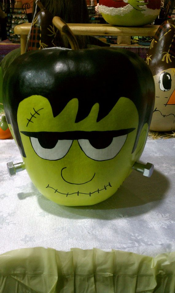 Handpainted Frankenstein Gourd Walleyworld Halloween