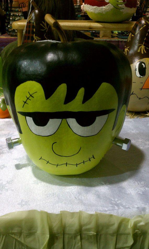 Handpainted Frankenstein Gourd by ToadilyUniqueCrafts on Etsy, $10.00