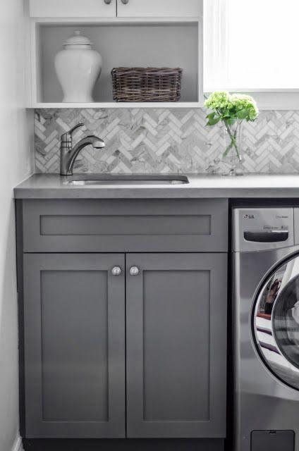 Laundry Room   bluegrass + boxwood; love the herringbone backsplash