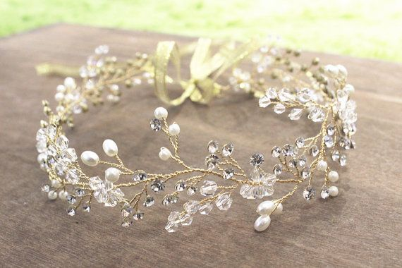 Boho Bridal Wedding Vine Halo Freshwater Pearl by BoheWedding