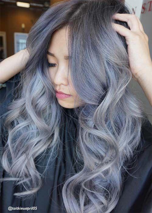 Granny Silver/ Grey Hair Color Ideas: Blue Silver Wavy Hair