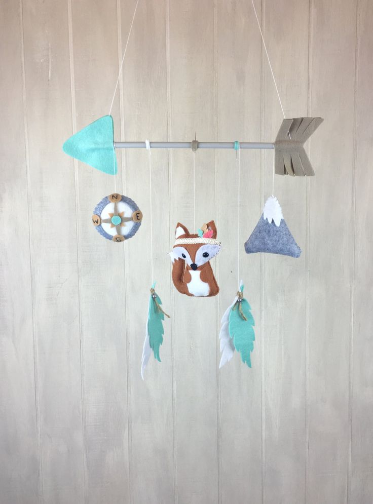Tribal mobile - baby mobile - fox mobile - feather mobile - arrow mobile - compass mobile - mountain mobile by JuniperStreetDesigns on Etsy https://www.etsy.com/listing/457002490/tribal-mobile-baby-mobile-fox-mobile