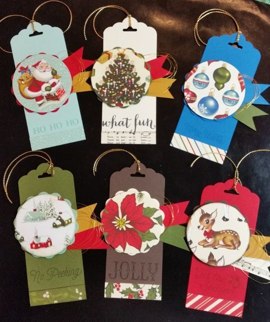 Christmas Tags - using Stampin' Up! products including Home for Christmas DSP and Oh, What Fun Stamp Sets, CS and Scalloped Tag Topper and Circle Punches: