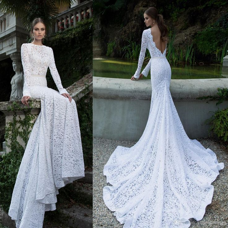 Wholesale Backless Wedding Dress - Buy 2014 Berta Lace Wedding Dresses Bateau Neckline Backless Long Sleeve Charpel Train Dhyz 07, $258.9 | DHgate