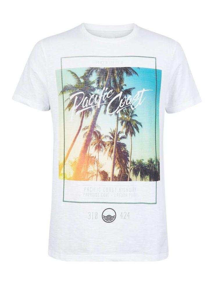 White Pacific Coast Print T-Shirt - Mens T-Shirts & Vests - Clothing - Burton Menswear