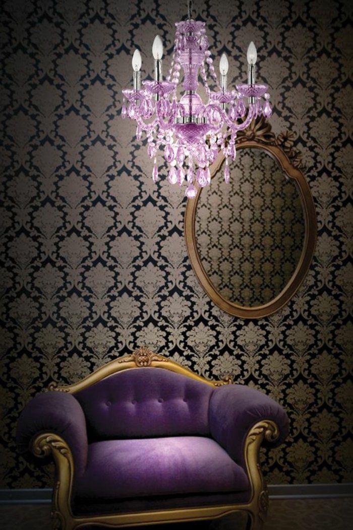 canapé violet pour le salon chic et baroque, canape violet