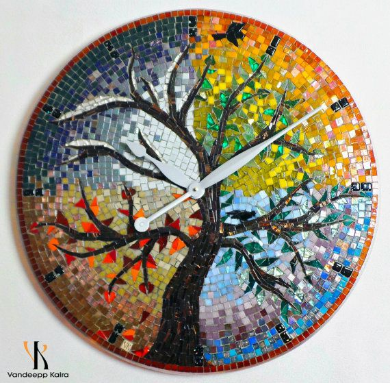 Seasons - Mosaic Clock + Mosaic Art featuring Glass mosaic tiles