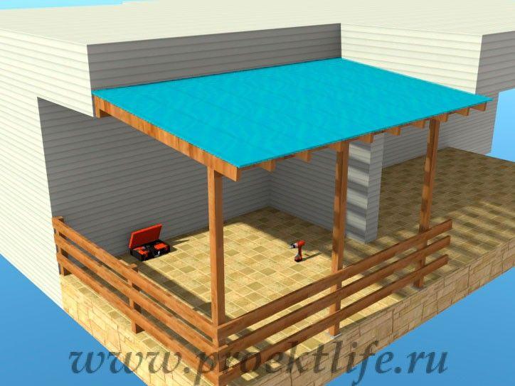 веранда крыша из поликарбоната