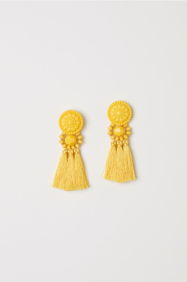 bb68bface6598 Earrings with tassels - Yellow - Ladies | H&M 1 | HM SS18 | Earrings ...