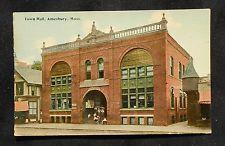 1910s Town Hall Amesbury MA Essex Co Postcard Massachusetts