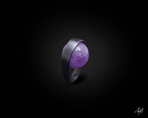 Silver ring with Amethyst SATIN Band di GioielleriaBrunelli, $137.30