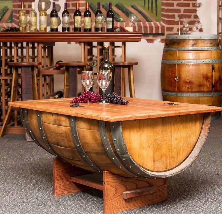 Wine Barrel Coffee Table Oak Furniture Living Room Decor Pub Room Bistro  Top New Part 95