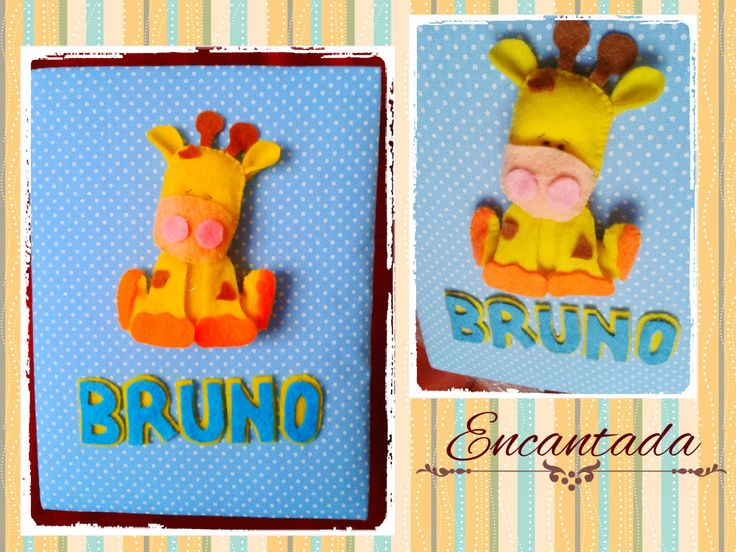 Diseño jirafa bebé en fieltro- Encantada