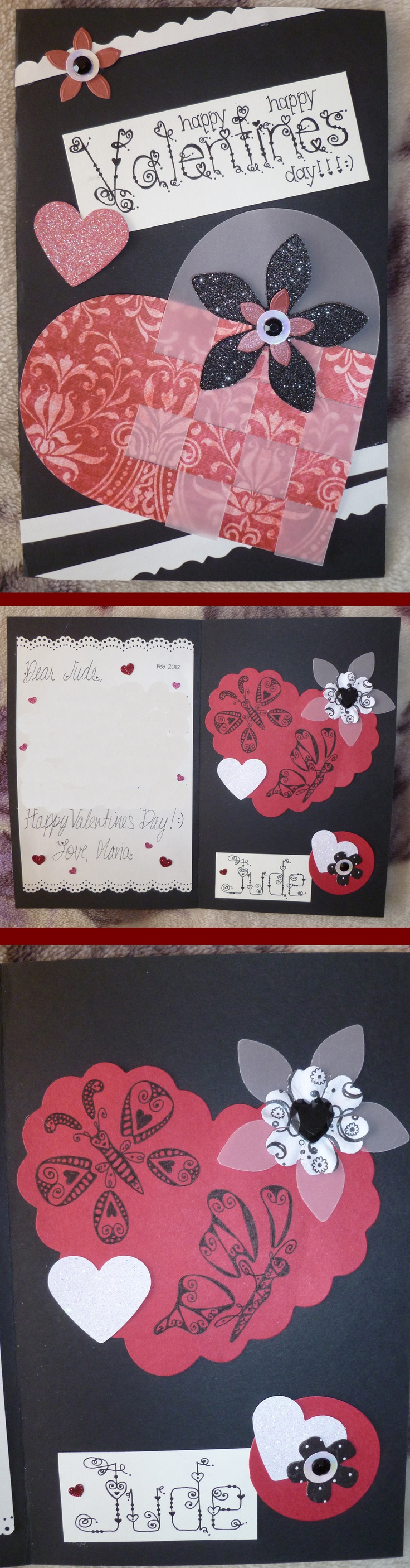 A handmade Valentine's Day Card. Love the color combination. All the fonts are original and hand-drawn. I drew the butterflies as well.