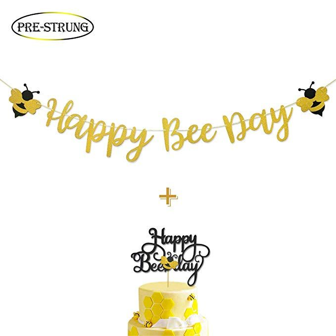 Amazonsmile Happy Bee Day Gold Glitter Banner Happy Bee Day