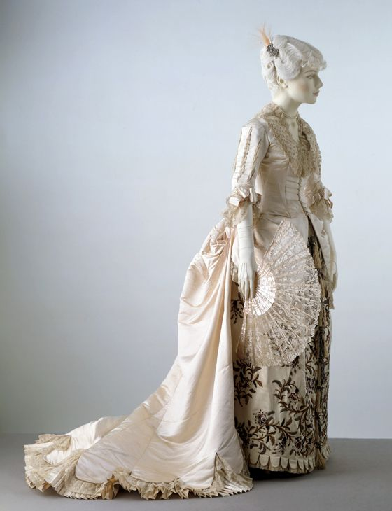 Pink Ivory Satin Evening gown with train, designed by Charles Frederick Worth (1825-1895), c. 1880.