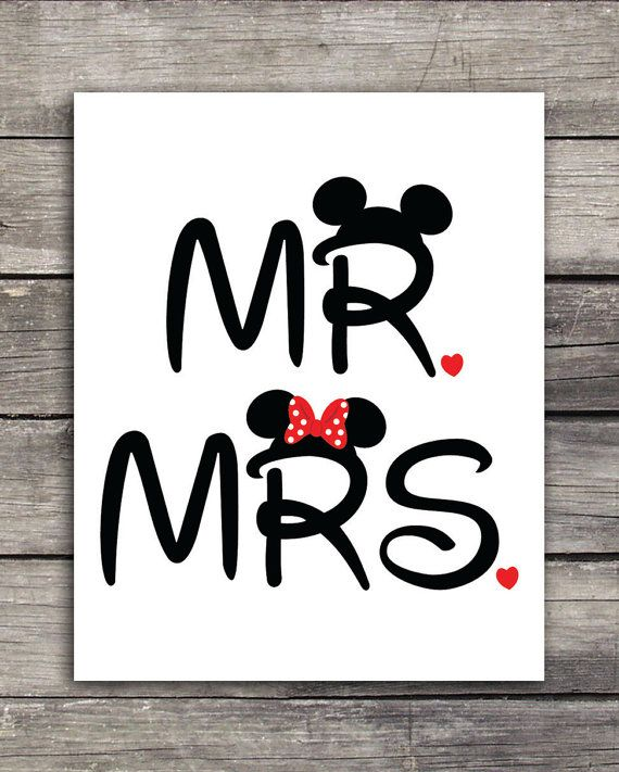 Mr. and Mrs. Mickey and Minnie Wedding Graphics-Use to print on shirts, mugs or any product of your choice. Great for your Disneymoon