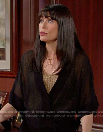 Quinn's sheer black jumpsuit and circle necklace on The Bold and the Beautiful.  Outfit Details: https://wornontv.net/59550/ #TheBoldandtheBeautiful