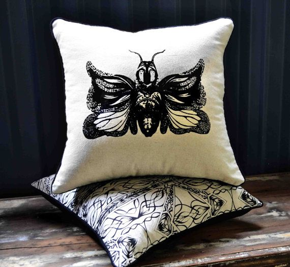 Handmade  Black Abstract butterfly Screen print  by LauraNadile, $67.00