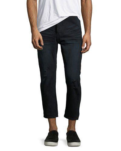 Mr. Brown Whiskered Distressed Jeans, Black