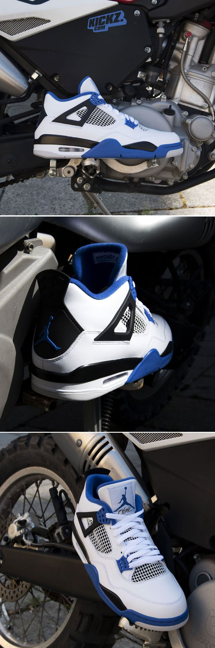 "Air Jordan 4 Retro ""Motorsport"" (white game royal). What a machine! #aj4 #airjordan #kickzcom"