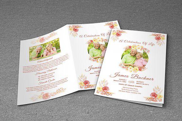 Flower Funeral Program Template by Madhabi Studio on @creativemarket