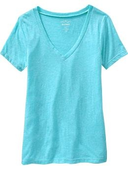 Lightweight V-Neck Tees from Old Navy.  These are so comfy & versatile.  Buy one in every color.