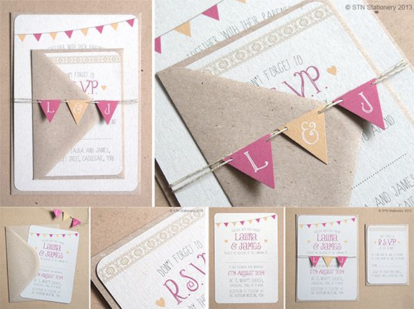 Beautiful bunting, summer fete wedding invitations » Wedding Invitation Ideas Blog