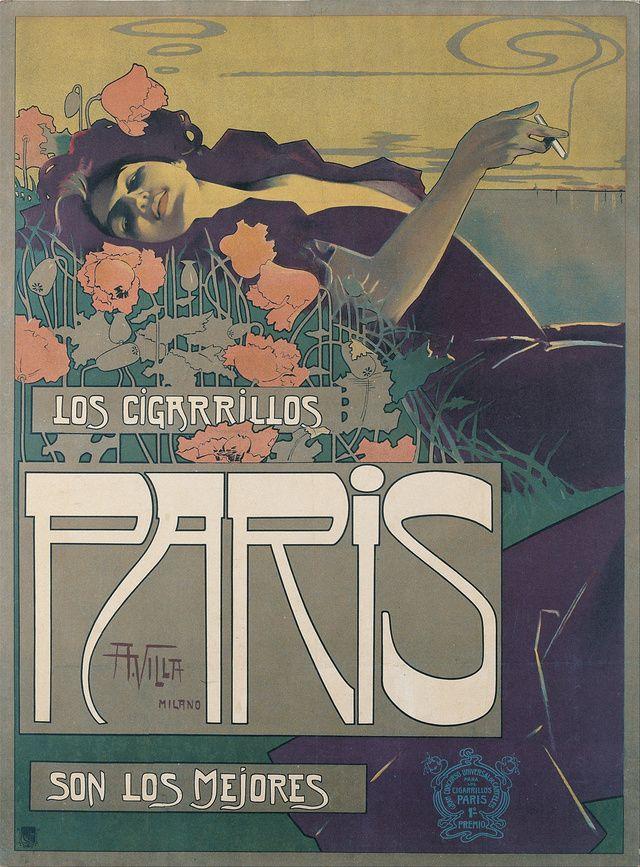 Cigarrillos Paris, 1901. Artist: Aleardo Villa.  www.eklectica.in