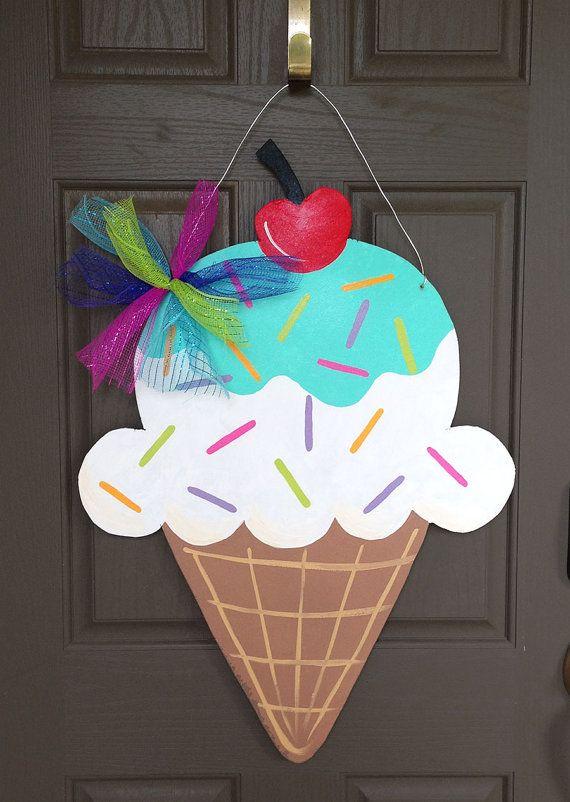 Ice Cream Cone Door Hanger- Summer/ Birthdays