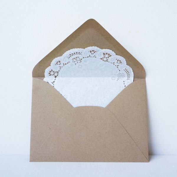 "Lace doily liner in a Kraft envelope - so sweet and vintage! Perfect for wedding invitations, correspondence, and more. 6"" Doily Liner A7 Paper Bag pointed flap"
