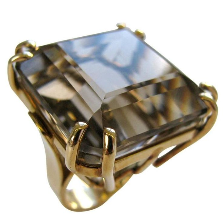 A Gold and Smokey Quartz Retro Ring, c1945 | From a unique collection of vintage cocktail rings at https://www.1stdibs.com/jewelry/rings/cocktail-rings/